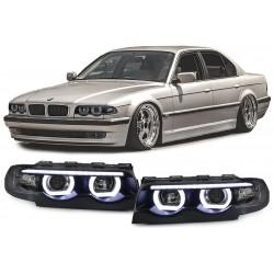 BMW 7 E38 94-01 LED Angel Eyes priekiniai žibintai juodi