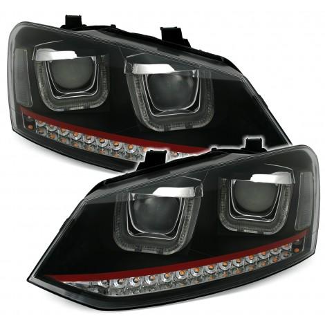 GTI tipo Priekinių žibintų komplektas skirtas VW Polo 6R + 6C juodi