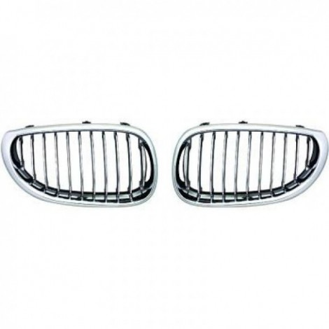 Priekinės grotelės be ženklo skirtos BMW 5 E60/E61 chromuotos