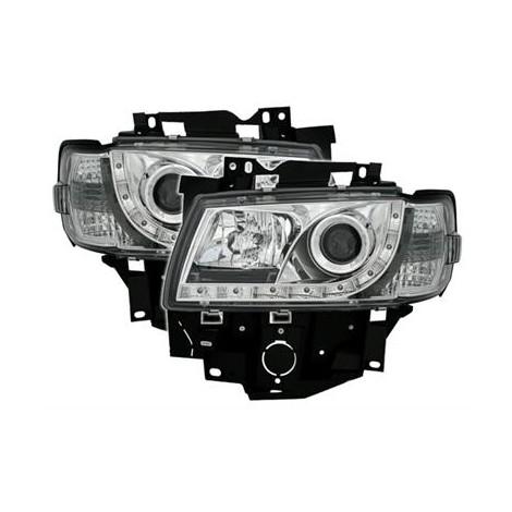 LED priekiniai žibintai skirti VW T4 juodi