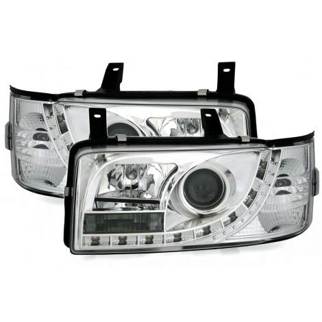 LED priekiniai žibintai skirti VW T4 šviesūs