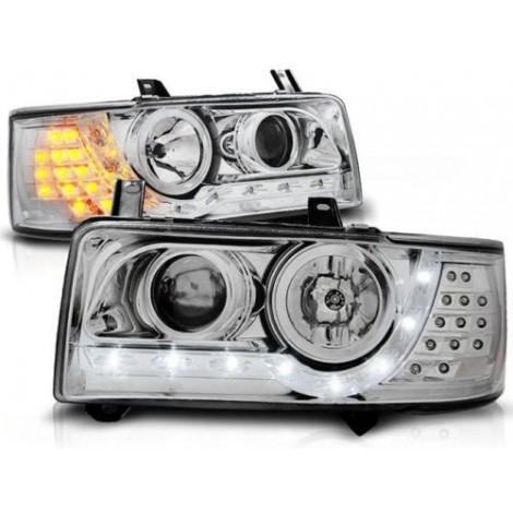 LED priekiniai žibintai skirti VW T4 šviesūs su LED posūkiais