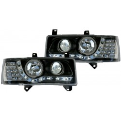 LED priekiniai žibintai skirti VW T4 juodi su LED posūkiais