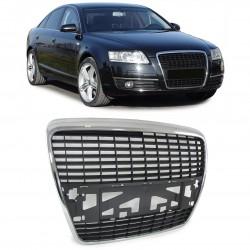 Priekinės grotelės be ženklo skirtos Audi A6 C6/4F chromuotos juodos