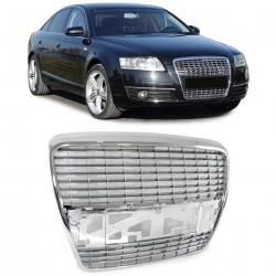 Priekinės grotelės be ženklo skirtos Audi A6 C6/4F chromuotos