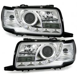 LED priekiniai žibintai skirti Audi 80 B4 šviesūs