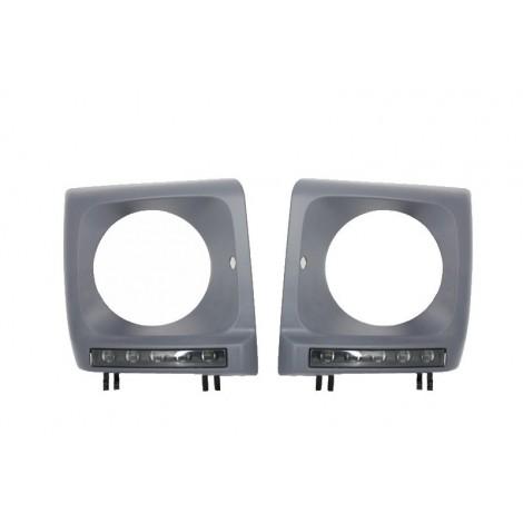 Priekinių žibintų rėmeliai su LED DRL skirti MB G-Class W463 G65 AMG tipo tamsinti