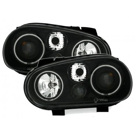 CCFL Angel eyes priekiniai žibintai skirti VW Golf 4 juodi