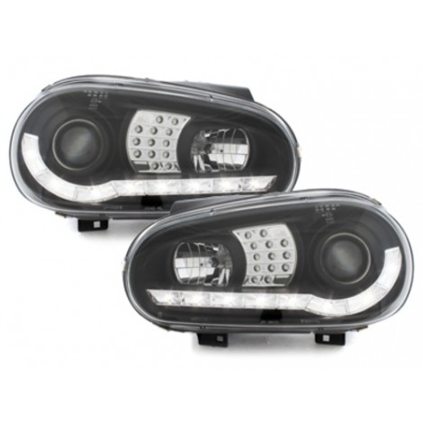DRL Priekiniai žibintai skirti VW Golf 4 juodi LED posūkiai