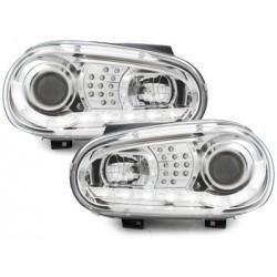 DRL Priekiniai žibintai skirti VW Golf 4 LED posūkiai