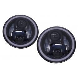 7 colių CREE LED angel eyes priekiniai žibintai skirti MB W463 Jeep Wrangler Land Rover Defender