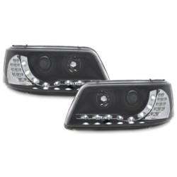 DRL priekiniai žibintai skirti VW T5 juodi LED posūkiai