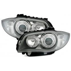 LED Angel Eyes priekiniai žibintai skirti BMW 1 E81 E82 E87 E88 sidabriniai