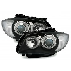 LED Angel Eyes priekiniai žibintai skirti BMW 1 E81 E82 E87 E88 juodi