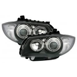 LED Angel Eyes priekiniai žibintai skirti BMW 1 E81 E82 E87 E88 pilki