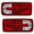 DEPO Galiniai žibintai skirti MB G-Class W463 raudona balta