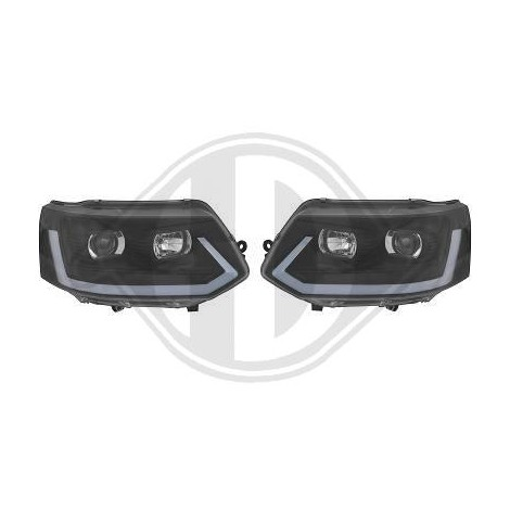 Priekiniai žibintai skirti VW T5 Facelift 09- juodi