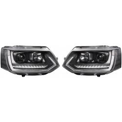 T6 Optik priekiniai žibintai skirti VW T5 Facelift 09- juodi